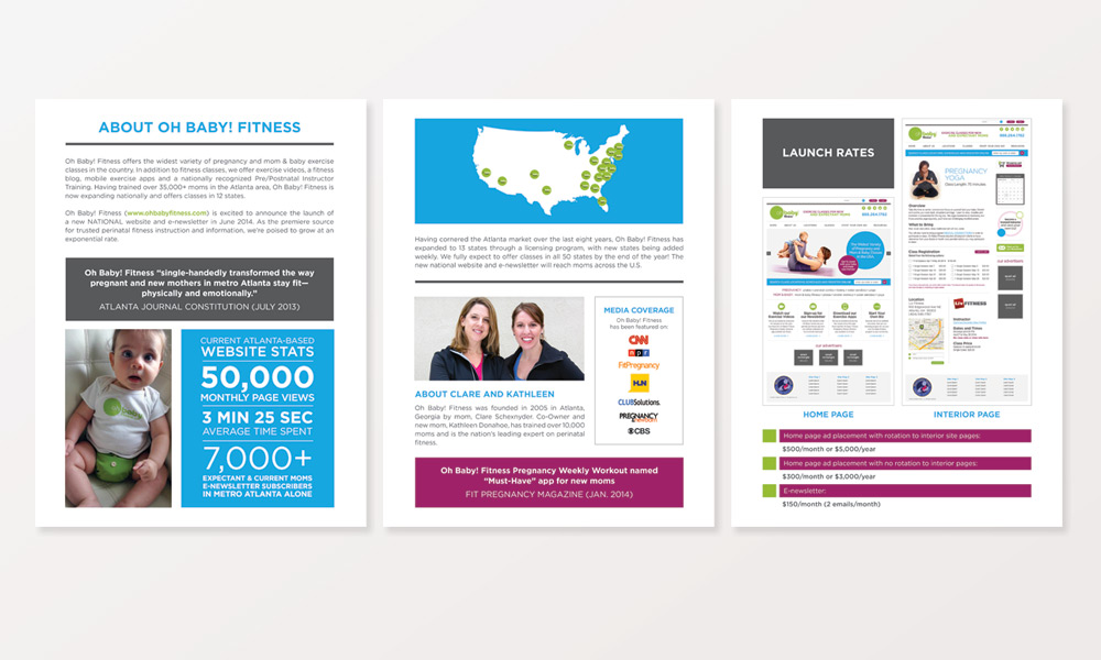 oh baby fitness atlanta media kit graphic design